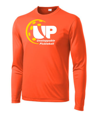 Unstoppable Pickleball - Mens Neon Orange Long Sleeve Shirt
