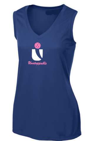 Unstoppable Pickleball - Ladies Ultra Sleeveless Dark Blue Tshirt