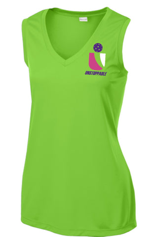 Unstoppable Pickleball - Ladies Ultra Sleeveless Lime Tshirt