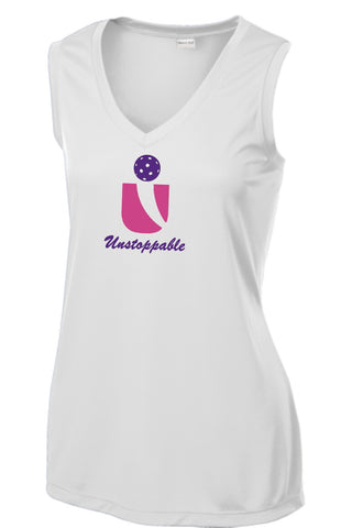 Unstoppable Pickleball - Ladies Ultra Sleeveless White Tshirt