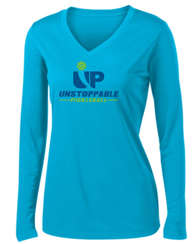 Unstoppable Pickleball - Womens Atomic Blue Long Sleeve Shirt
