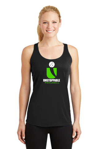Unstoppable Pickleball - Ladies Simple Black Racerback Tank