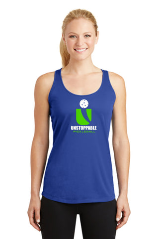 Unstoppable Pickleball - Ladies Bright Blue Racerback Tank