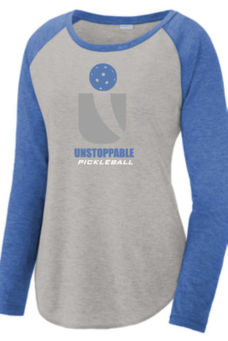 Unstoppable Pickleball - Womens Heather Grey and Blue Long Sleeve Shirt
