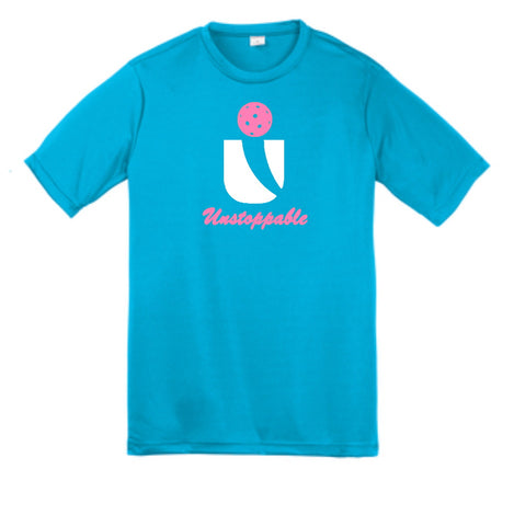 Unstoppable Pickleball Juniors - Unisex Atomic Blue Tshirt w/White and Pink U Logo