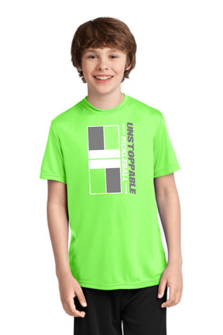 Unstoppable Pickleball Juniors - Unisex Lime Green Tshirt with Pickleball Court