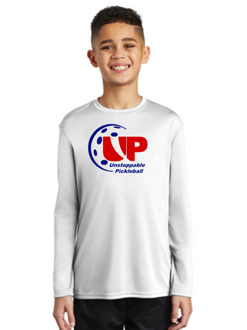 "Unstoppable Pickleball Juniors - Unisex White ""UP"" Long Sleeve Tshirt"