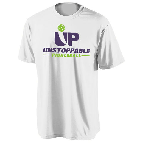 Unstoppable Pickleball - First Edition White with Green-Purple Logo Shirt