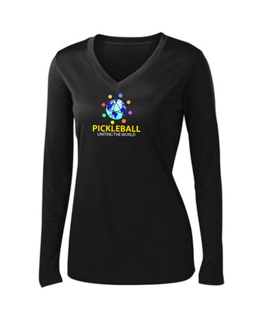 Uniting The World - Ladies Long Sleeve Pickleballs In Orbit: Black