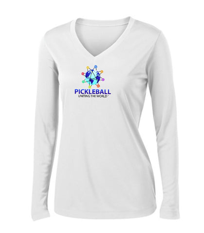 Uniting The World - Long Sleeve Pickleballs In Orbit: White