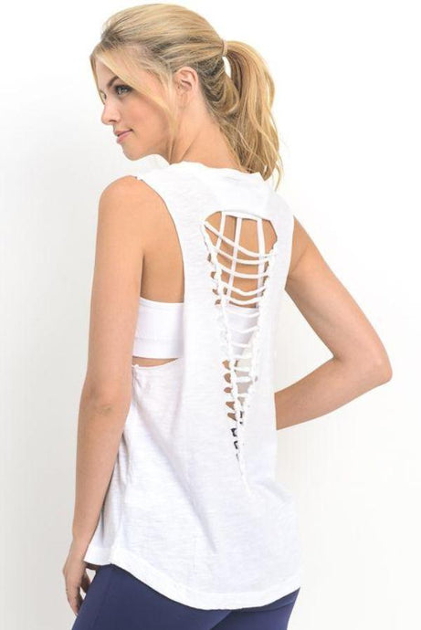 'Karly' Open-Back Tank (White)