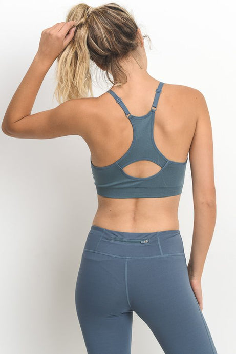 'Long Beach' V-Neck Sports Bra (Light Teal Blue)