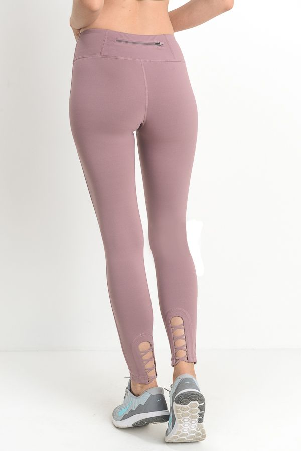 'Manhattan' Criss-Cross Leggings (Mauve)
