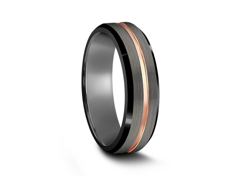 6MM BRUSHED GRAY TUNGSTEN WEDDING BAND ROSE GOLD CENTER BLACK EDGES AND GRAY INTERIOR - Vantani Wedding Bands