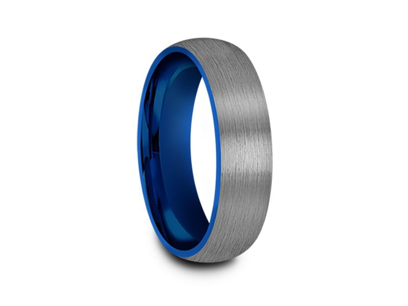 6MM BRUSHED GRAY GUNMETAL TUNGSTEN WEDDING BAND DOME AND BLUE INTERIOR - Vantani Wedding Bands