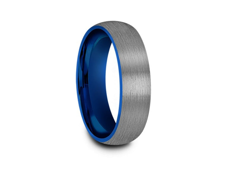 Brushed Tungsten Wedding Band - Blue Plated inlay - Gunmetal - Two Tone - Engagement Ring - Dome Shaped - Comfort Fit  6mm - Vantani Wedding Bands