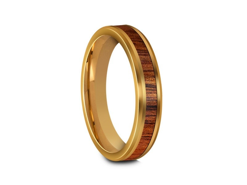 HAWAIIAN Koa Wood Inlay Tungsten Carbide Ring