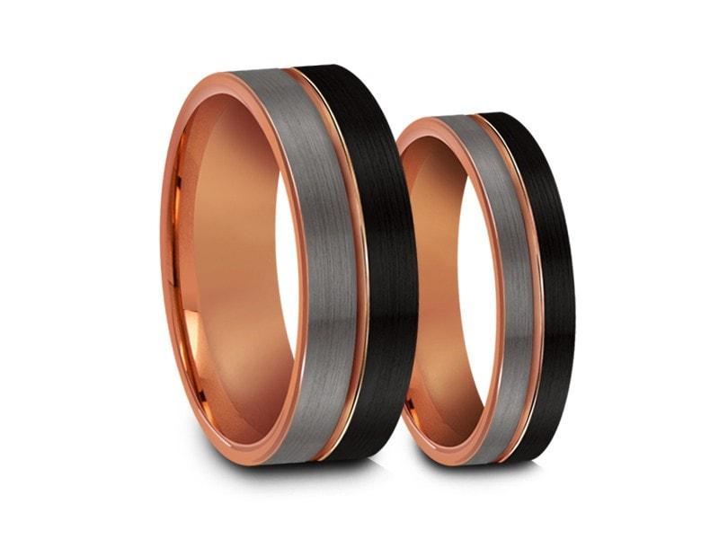 6MM/8MM BRUSHED GRAY AND BLACK FLAT TUNGSTEN WEDDING BAND SET ROSE GOLD CENTER AND ROSE GOLD INTERIOR - Vantani Wedding Bands