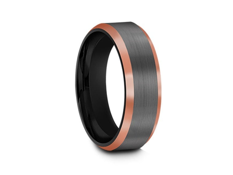 6MM BRUSHED GRAY GUNMETAL TUNGSTEN WEDDING BAND ROSE GOLD EDGES AND BLACK INTERIOR - Vantani Wedding Bands