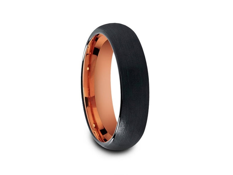 6MM BRUSHED BLACK TUNGSTEN WEDDING BAND DOME AND ROSE GOLD INTERIOR - Vantani Wedding Bands