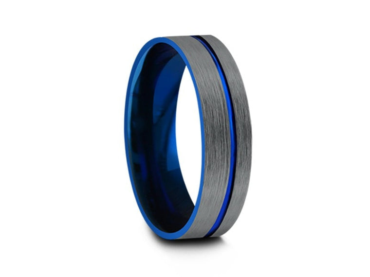 Brushed and Blue Tungsten Wedding Band - Engagement Ring - Two Tone Band - Gunmetal - Flat Pipe Shaped - Comfort Fit - 6MM - Vantani Wedding Bands
