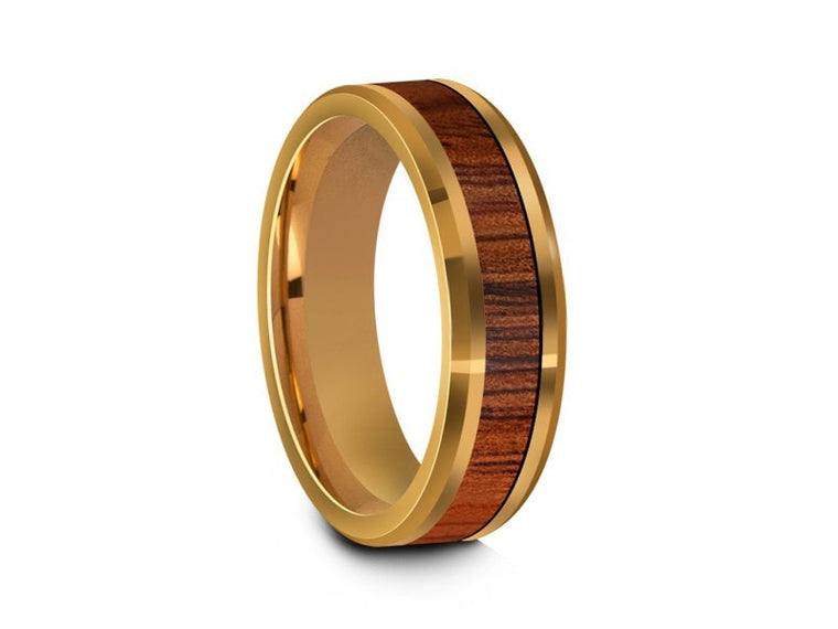 HAWAIIAN Koa Wood Inlay Tungsten Carbide Ring - Yellow Gold Plated - Koa Wood Wedding Band - Engagement Ring - Beveled Shaped - Comfort Fit  6mm - Vantani Wedding Bands