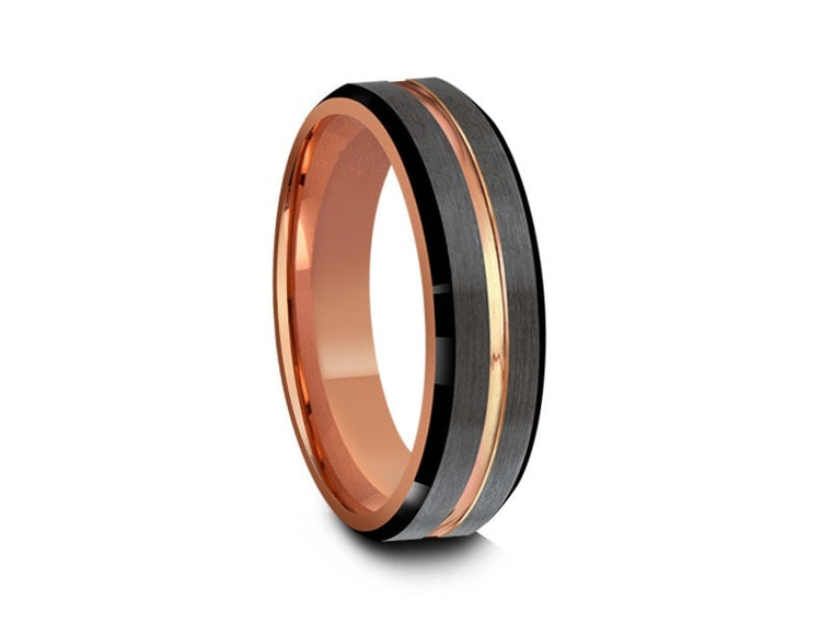 6MM BRUSHED GRAY TUNGSTEN WEDDING BAND ROSE GOLD CENTER BLACK EDGES AND ROSE GOLD INTERIOR - Vantani Wedding Bands