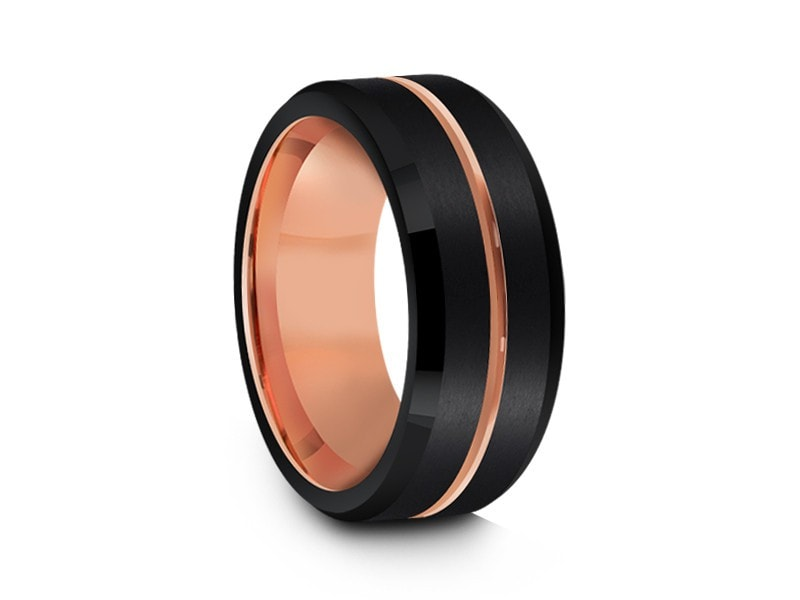 8MM BRUSHED BLACK TUNGSTEN WEDDING BAND ROSE GOLD CENTER AND ROSE GOLD INTERIOR - Vantani Wedding Bands
