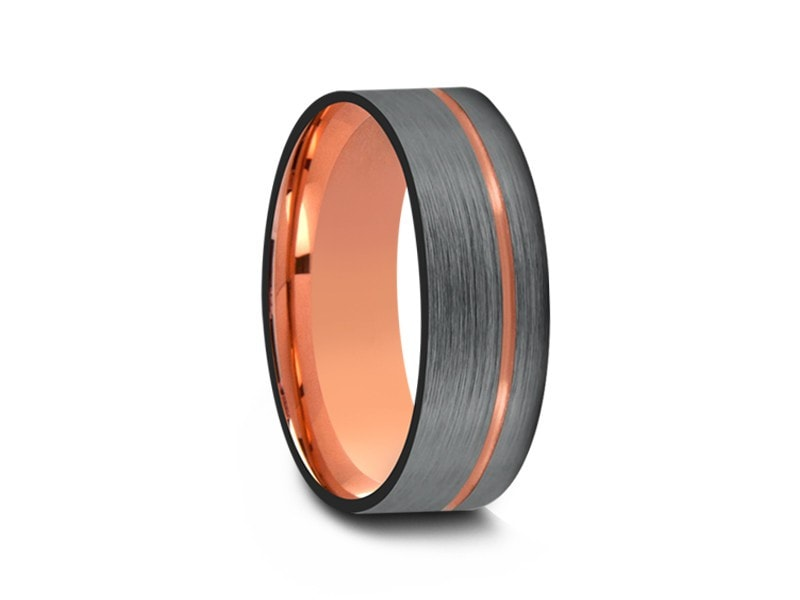 8MM BRUSHED GRAY FLAT TUNGSTEN WEDDING BAND ROSE GOLD CENTER AND ROSE GOLD INTERIOR - Vantani Wedding Bands