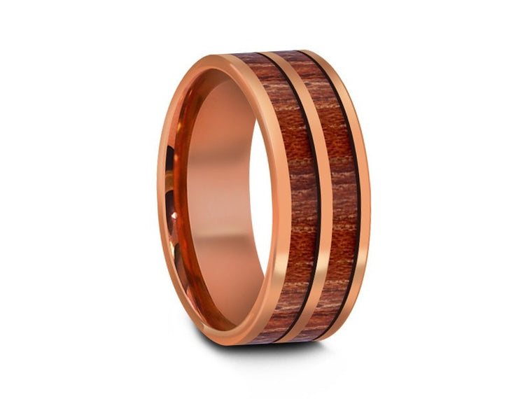 8MM HAWAIIAN KOA WOOD TUNGSTEN WEDDING BAND ROSE GOLD CENTER AND ROSE GOLD INTERIOR - Vantani Wedding Bands