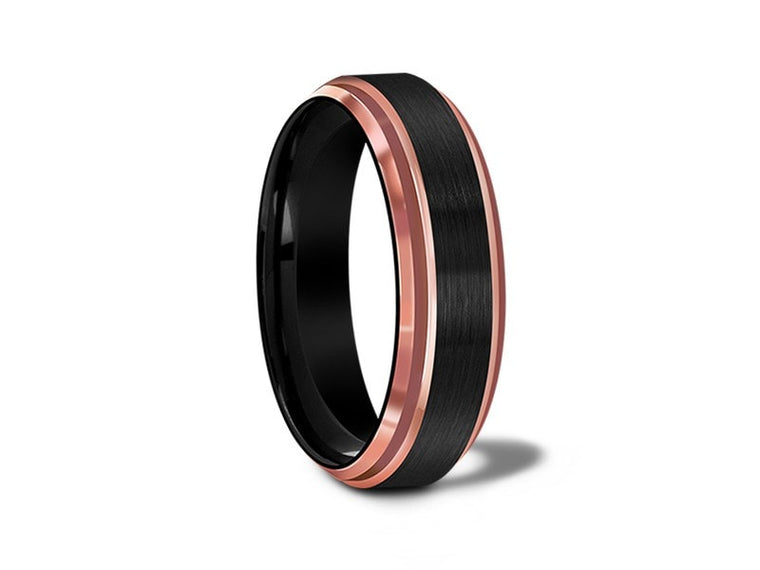 6MM BRUSHED BLACK TUNGSTEN WEDDING BAND ROSE GOLD EDGES AND BLACK INTERIOR - Vantani Wedding Bands