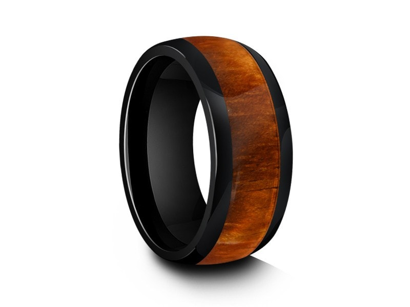 8MM HAWAIIAN KOA WOOD CERAMIC WEDDING BAND DOME AND BLACK INTERIOR - Vantani Wedding Bands