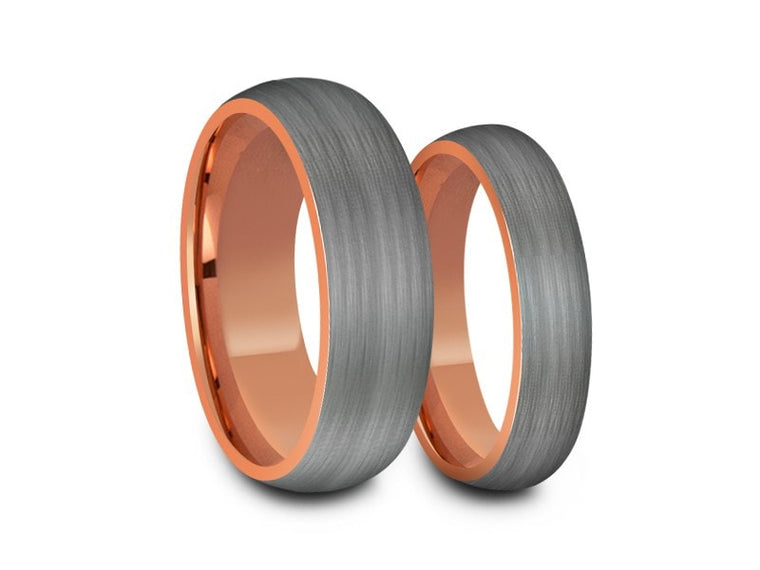 Tungsten Carbide Matching Bands - Tungsten Wedding Band Set - Rose Gold Ring Set - Gunmetal Bands - His/Hers - Comfort Fit  6mm-8mm