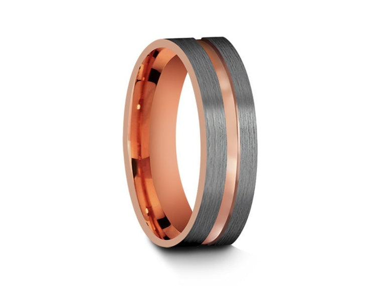Rose Gold Tungsten Wedding Band - Gray Brushed Ring - Rose Gold Plated Inlay - Two Tone - Flat Shaped - Comfort Fit  6mm - Vantani Wedding Bands