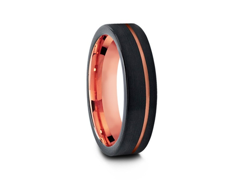 6MM BRUSHED BLACK TUNGSTEN WEDDING BAND FLAT AND ROSE GOLD INTERIOR - Vantani Wedding Bands