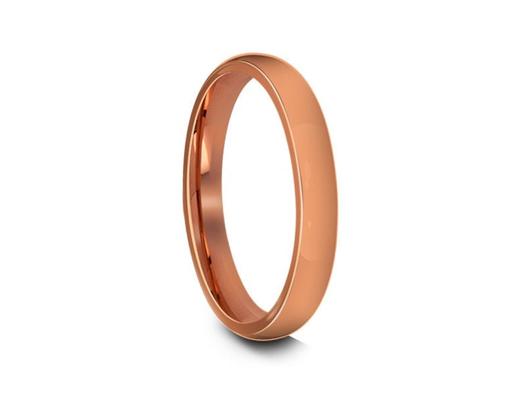 Tungsten Classic Wedding Band - High Polish - Rose Gold Plated - Engagement Ring - Dome Shaped - Comfort Fit   3mm - Vantani Wedding Bands