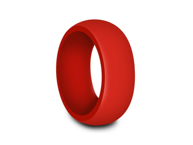 Men's Silicone Ring  - Cross Fit - Rubber Ring - Active - Wedding Ring - Silicone Ring - Comfort Fit  8mm