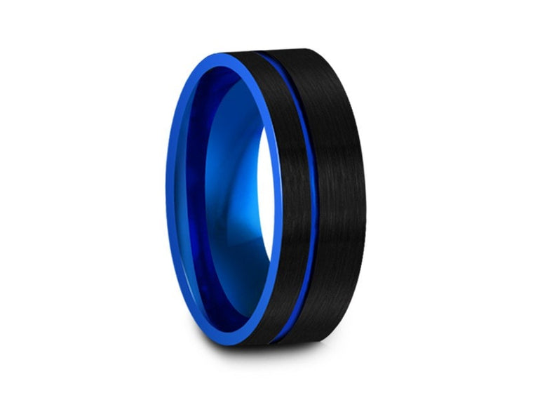8MM BRUSHED BLACK TUNGSTEN WEDDING BAND FLAT AND BLUE INTERIOR - Vantani Wedding Bands
