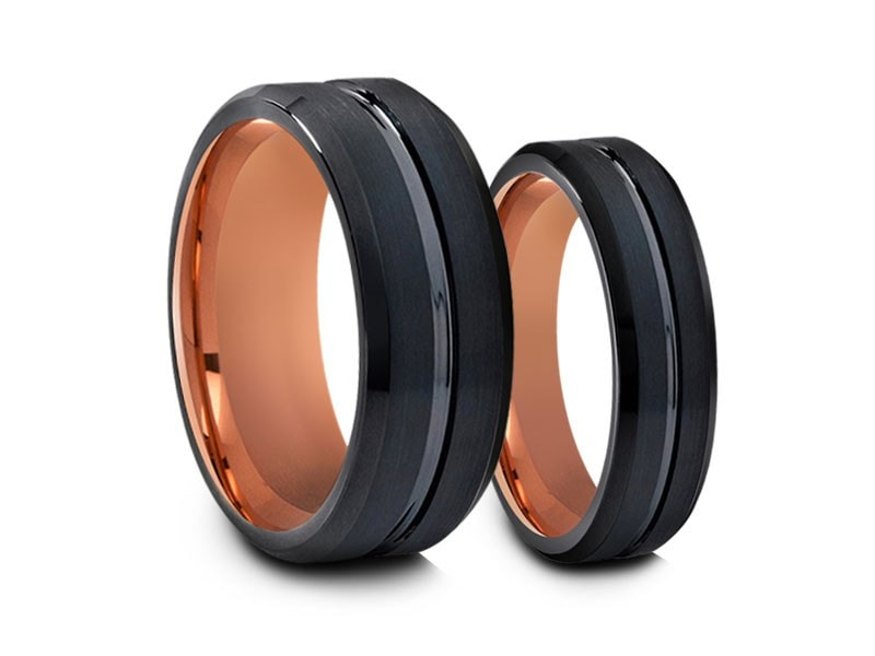 6MM/8MM BRUSHED BLACK TUNGSTEN WEDDING BAND SET BEVELED AND ROSE GOLD INTERIOR - Vantani Wedding Bands