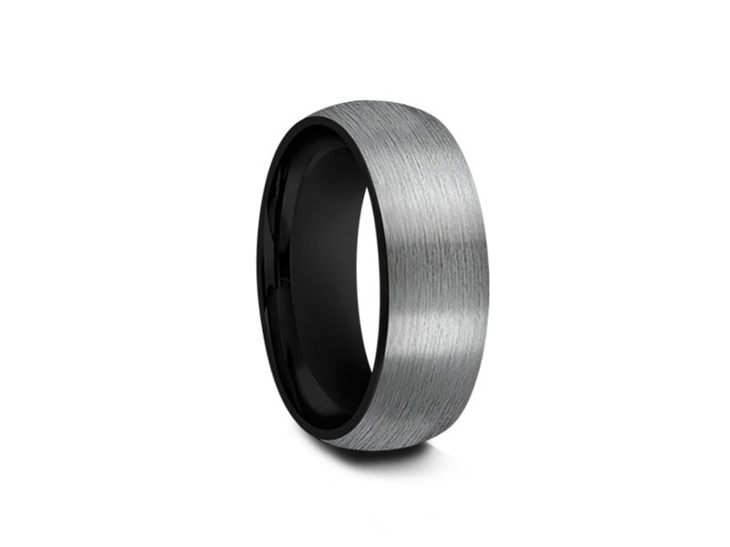 8MM BRUSHED GRAY GUNMETAL TUNGSTEN WEDDING BAND DOME AND BLACK INTERIOR - Vantani Wedding Bands