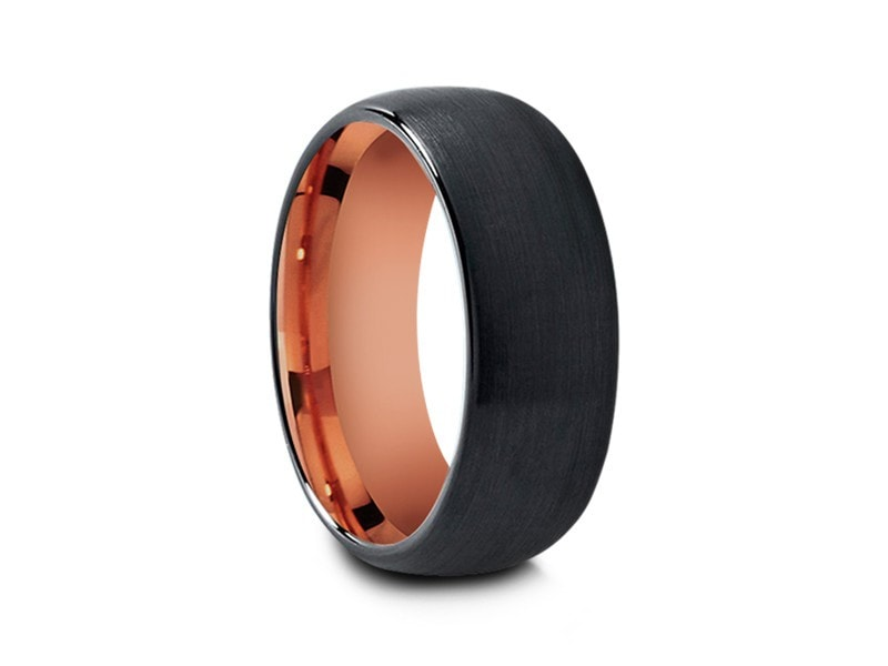 8MM BRUSHED BLACK TUNGSTEN WEDDING BAND DOME AND ROSE GOLD INTERIOR - Vantani Wedding Bands