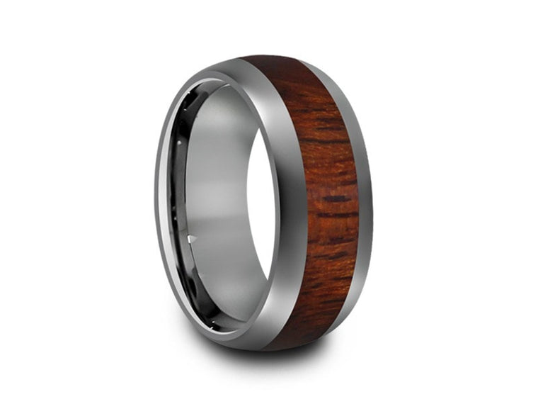 8MM HAWAIIAN KOA WOOD TUNGSTEN WEDDING BAND DOME AND GRAY INTERIOR - Vantani Wedding Bands