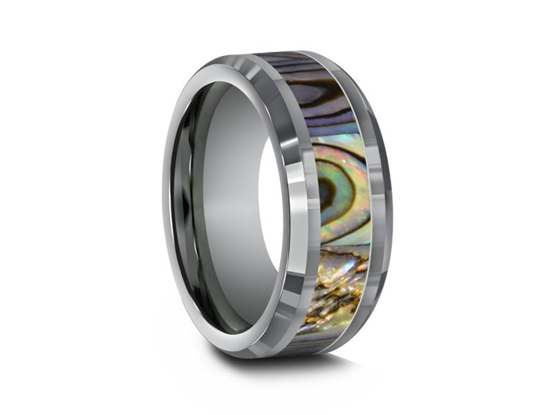 Abalone Shell Tungsten Carbide Wedding Band   Abalone Inlay Ring   Shell  Ring   Engagement Band ...