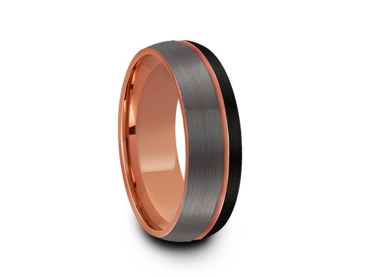8MM BRUSHED GRAY AND BLACK DOME TUNGSTEN WEDDING BAND ROSE GOLD CENTER AND ROSE GOLD INTERIOR - Vantani Wedding Bands