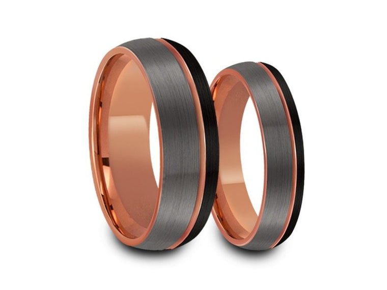 6MM/8MM BRUSHED GRAY AND BLACK DOME TUNGSTEN WEDDING BAND SET ROSE GOLD CENTER AND ROSE GOLD INTERIOR - Vantani Wedding Bands