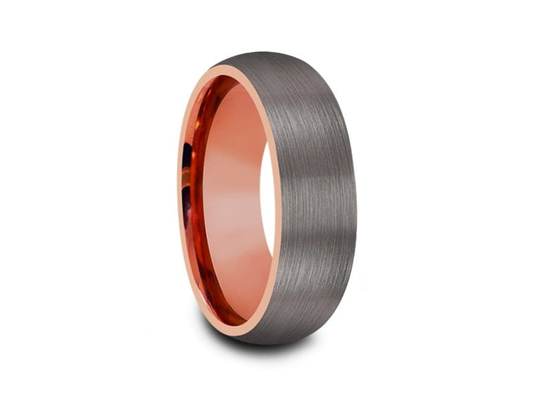 Rose Gold Tungsten Wedding Band - Gray Brushed Ring - Rose Gold Plated Inlay - Two Tone - Dome Shaped - Comfort Fit  8mm - Vantani Wedding Bands