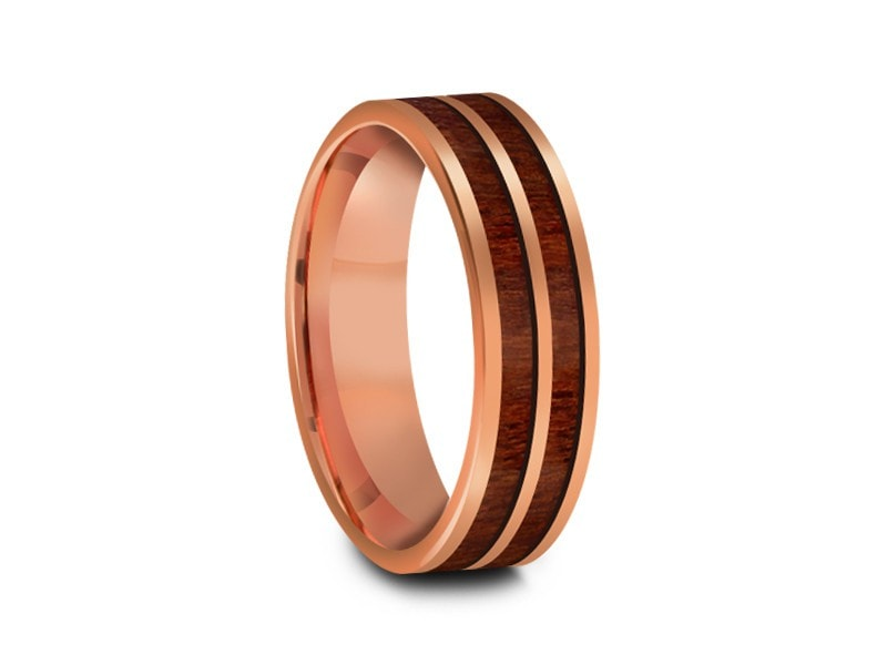 6MM HAWAIIAN KOA WOOD TUNGSTEN WEDDING BAND ROSE GOLD CENTER AND ROSE GOLD INTERIOR - Vantani Wedding Bands