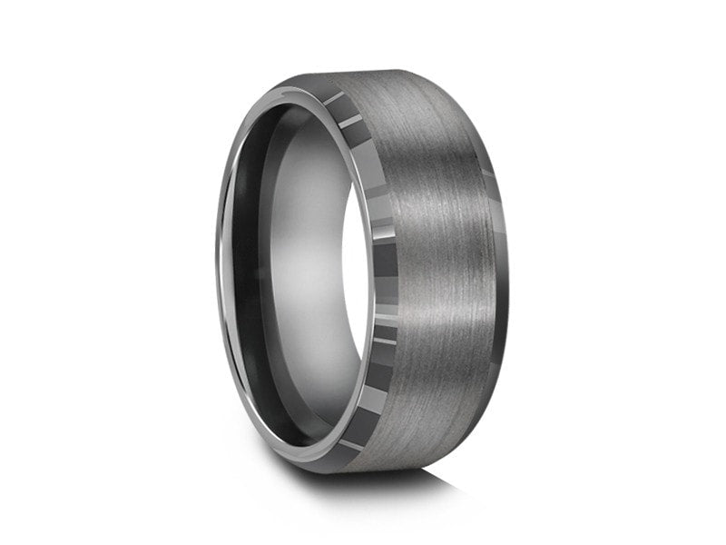 8MM BRUSHED GRAY TUNGSTEN WEDDING BAND BEVELED AND GRAY INTERIOR - Vantani Wedding Bands