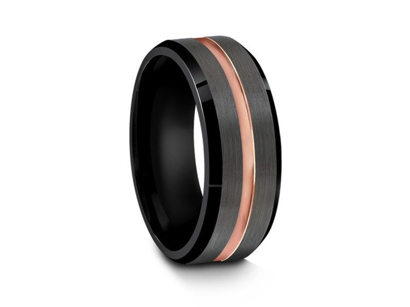 8MM BRUSHED GRAY TUNGSTEN WEDDING BAND ROSE GOLD CENTER AND BLACK INTERIOR - Vantani Wedding Bands