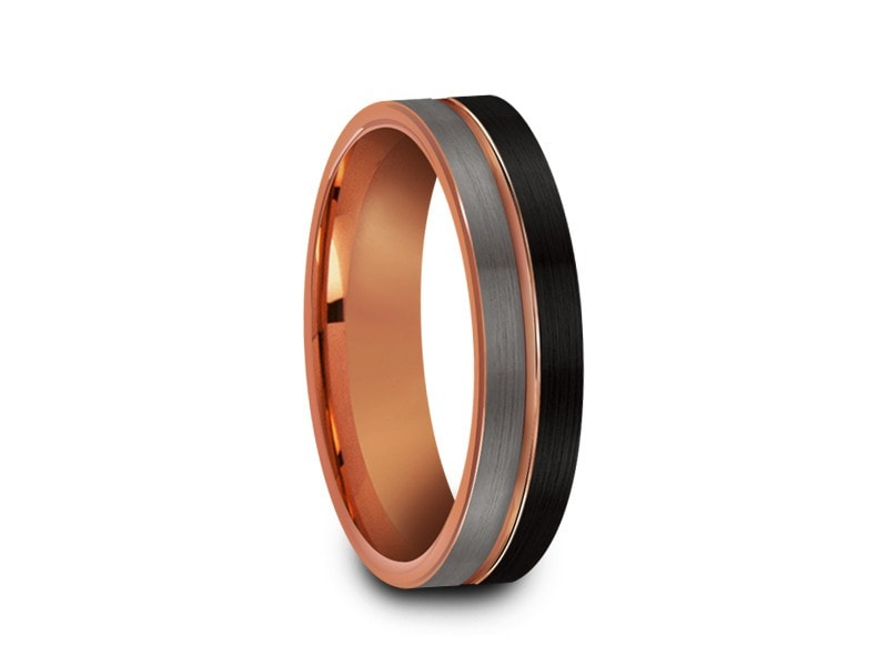 6MM BRUSHED GRAY AND BLACK FLAT TUNGSTEN WEDDING BAND ROSE GOLD CENTER AND ROSE GOLD INTERIOR - Vantani Wedding Bands